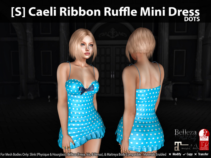 [S] Caeli Ribbon Ruffle Mini Dress Dots