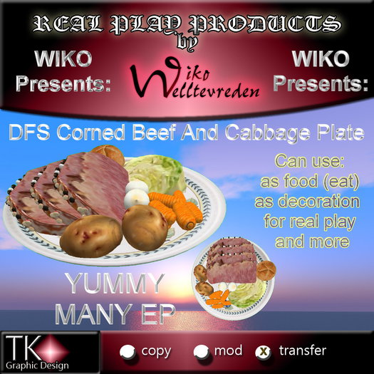 WIKO presents DFS Corned Beef And Cabbage Plate * Many EP * Can eat, use for cooking, decoration ...