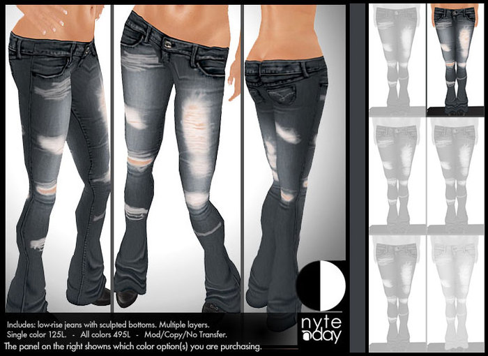 Nyte'N'Day - Low-Rise Ripped Jeans - Stone