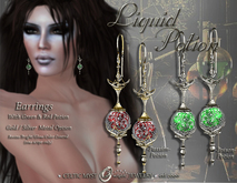 ~∴~Liquid Potion Earrings - Poison Green & Passion Red (color change)
