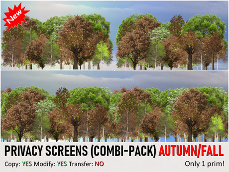*DQ* PRIVACY SCREENS - COMBI PACK - AUTUMN / FALL + BONUS SKY PLATFORM AND PARCEL SURROUND