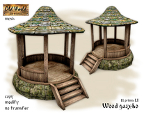 Old World gift - Wood gazebo on stone