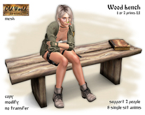 Wood bench with book - Old World - Garden decorations