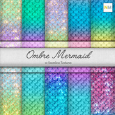 Ombre Mermaid 10 Seamless Scales Textures NM