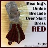 Miss Ing's Dinkie Brocade Over Skirt Dress Set Red