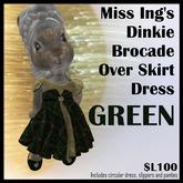 Miss Ing's Dinkie Brocade Over Skirt Dress Set Green