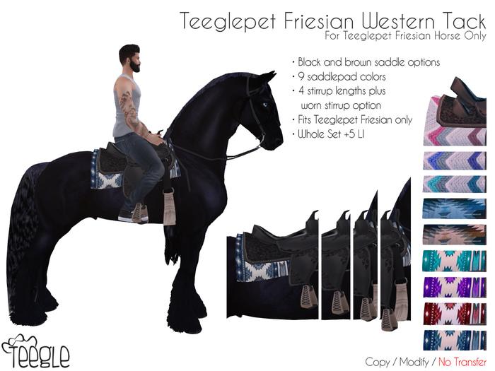 [Teegle] Western Tack Set for Teeglepet Friesian Horse