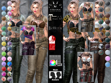 V-Twins - Biker Clothes - Manhattan Collection **MESH Top & Chaps Compat. (Maitreya Belleza Slink)