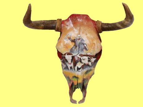 Steer Head Wall Decoration Animal Skull Cowboy Longhorn Decor Hanging Sign