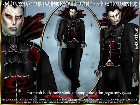 irrISIStible : HALLOWEEN VICTORIAN VAMPIRE OUTFIT MEN + SKIN + HUD 3 textures