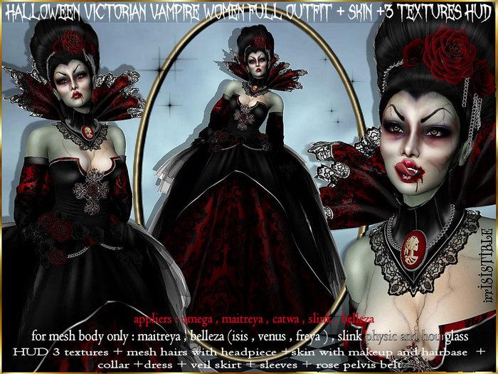 irrISIStible : HALLOWEEN  VICTORIAN VAMPIRE OUTFIT WOMEN + SKIN + HUD