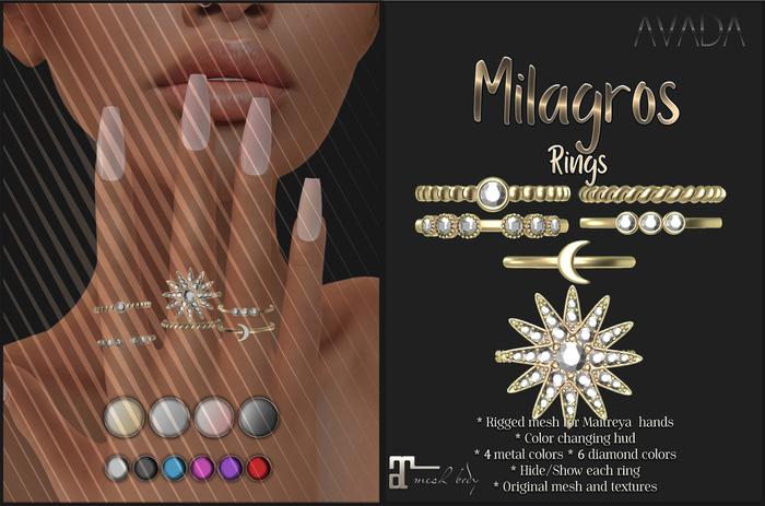 Avada~ Milagros Rings - Maitreya