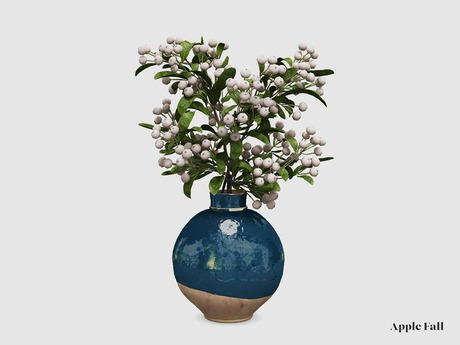 Apple Fall Pyracantha Berries in Glazed Pot - Blue