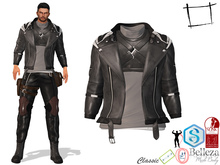 Full Perm Men's Black Leather Rider Jacket With Turtle Neck Top Slink Male, Belleza Jake, Signature Gianni