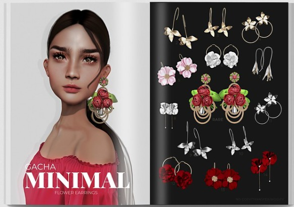 MINIMAL - Flower Earrings 4 - Gold Hoops