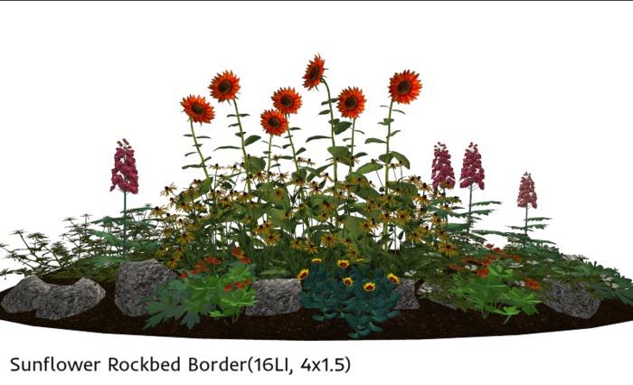 Sunflower Rockbed Border(16LI, 4x1.5)