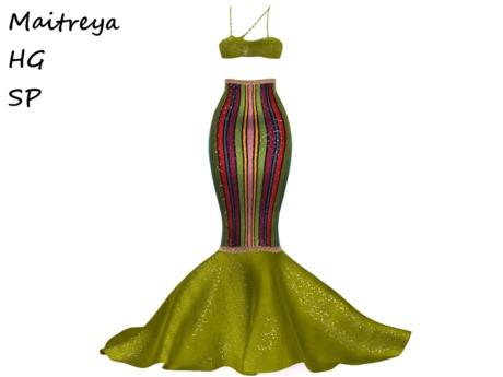 ~PP~ Carnival Stripe Sequined Mermaid Skirt Set