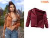 TETRA - Moto leather jacket (Burgundy)