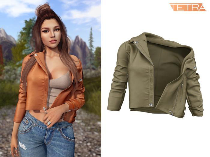 TETRA - Moto leather jacket (Khaki)