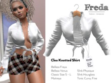 """""""Freda"""" Cleo Knotted Shirt, sexy silk blouse with long sleeves, pure white for Belleza Maitreya Slink Physique Hourglass"""