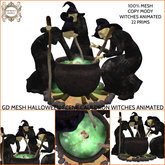 GD MESH HALLOWEEN SCENE CAULDRON WITCHES ANIMATED
