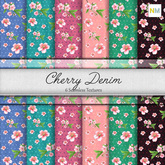 Cherry Denim 6 Seamless Knitted Flowers Textures NM