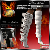 """** 10L SALE * !Drakke! """"Stacked"""" Knee High Boots (White) ~ (Works with All Viewers, Includes Alpha Masks & Invisi Prims)"""