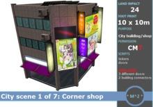 * M^2 * Corner building - Japanese City scene 1 of 7 (BOXED/MESH/COPY/MODIFY)