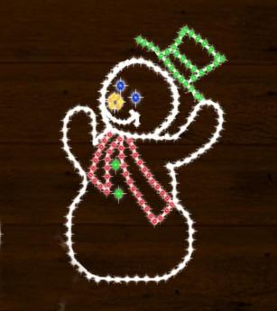Christmas Lights Greeting Snowman