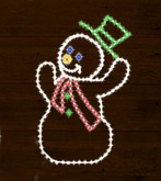 Christmas Lights Greeting Snowman