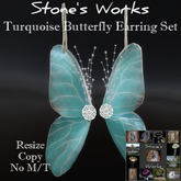 Butterfly Earring Set Turquoise Stone's Works