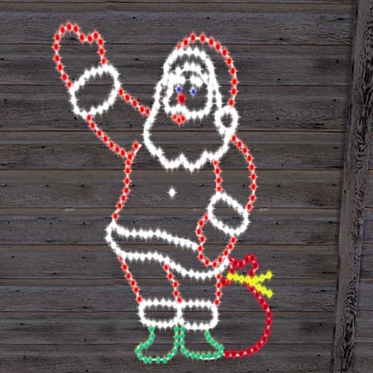Christmas Lights Greeting Santa