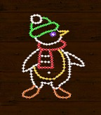 Christmas Lights Waving Penguin