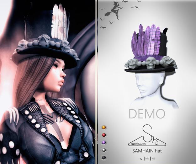 [sYs] SAMHAIN hat (Unrigged mesh) - DEMO
