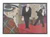 Dutchie mesh enamel cafe board: Man and Woman and 2 Waiters