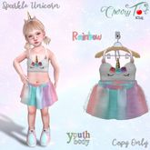*Cherry Tot* Youth Fitted Sparkle Unicorn Rainbow (Wear&Click)