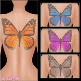 ~Dollypop~ Monarch Back Tattoos Bake On Mesh & Classic