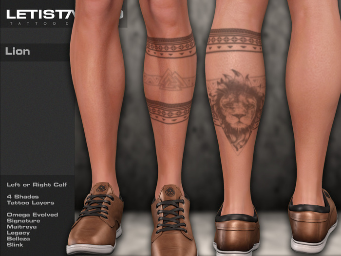 Letis Tattoo :: Lion :: Legs Tattoo & Omega Legacy Maitreya and more Applier