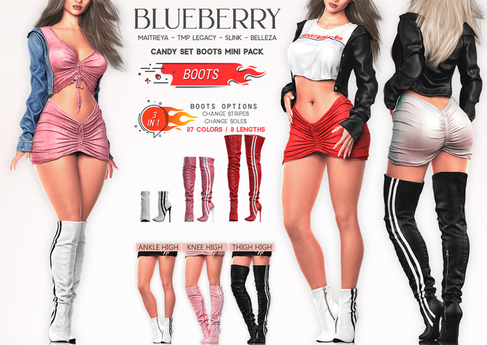 Blueberry - Candy - 3 Length Boots - DEMO