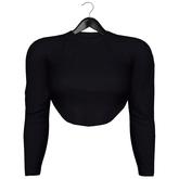 [Pumpkin] Long Sleeve Cropped Top - Black