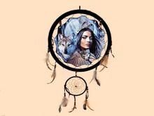 DREAMCATCHER Wolf Maiden Native American HANGING HOME WALL DECOR 3D Look Flat ALPHA 1 PRIM Copy/Mod Country West Beauty