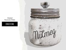 Nutmeg. Painted Mason Jar White