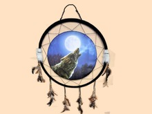 DREAMCATCHER Wolf Moon Native American HANGING HOME WALL DECOR 3D Look Flat ALPHA 1 PRIM Copy/Mod Country West Beauty