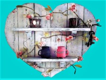 Heart 2 Shelf Shabby Chic Roses HOME WALL DECOR Hanging Art 3D Look Flat ALPHA 1 PRIM Copy/Mod Country House Beauty