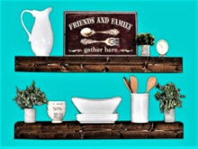Kitchen Dining 2 Dish Shelf Family HOME WALL DECOR Hanging Art