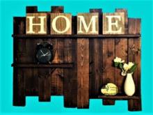 Reclaimed Wood 3 shelf HOME Clock Flower WALL DECOR Hanging Art 3D Look, Flat ALPHA CUT, 1 PRIM Copy/Mod Country Beauty