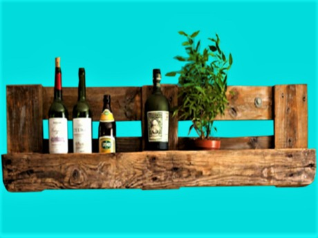 Reclaimed Wood Wine Rack Shelf Plant HOME DECOR Hanging Wall Art, 3D Look Flat ALPHA CUT, 1 PRIM Copy/Mod Country Beauty
