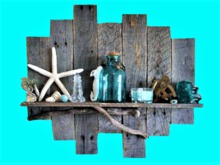 Rustic Wood Shelf Sea Treasures HOME WALL DECOR Hanging Art