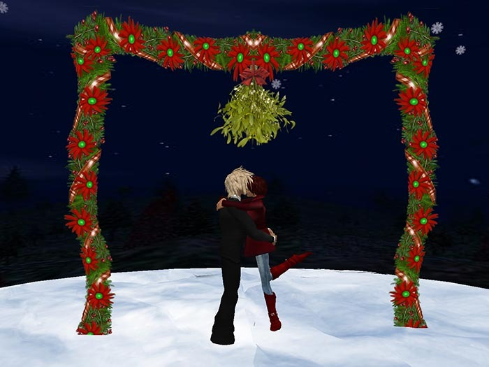 Christmas Gate with Mistletoe and Kiss