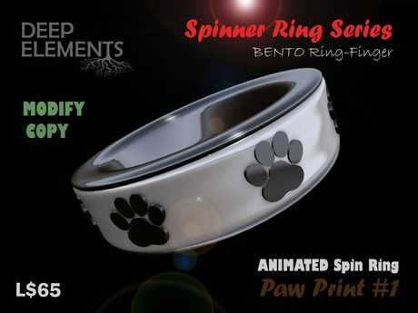 [DeepElements] : Spin Ring - Paw Prints #1